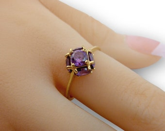 Amethyst Gold Ring -14K Gold filled delicate ring, gold amethyst ring, thin ring gift for women minimalist jewelry gemstone ring multistone