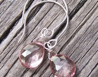 Pink Quartz Faceted Briolette Earrings with Sterling Silver
