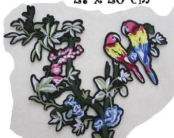 LARGE flowers BADGE PATCH Bird on branch * 27 x 26 cm * embroidered patch applique