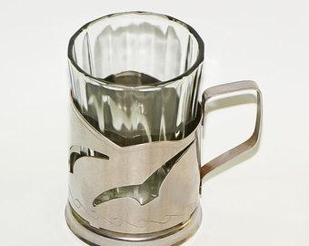 Vintage tea glass holder cup holder soviet decor retro kitchen decor glass holder metal tea cozy - made in USSR