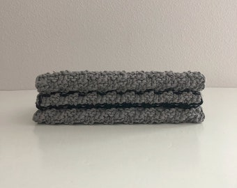 Set of 3 cotton knit washcloths - gray and black  kitchen dishcloths