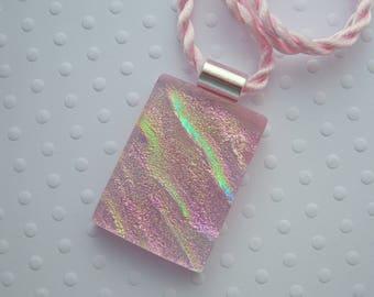 Dichroic Fused Glass Pendant - Bohemian Pendant - Boho - Dichroic Glass - Fused Glass - Dichroic Jewelry - Pink Necklace 5885