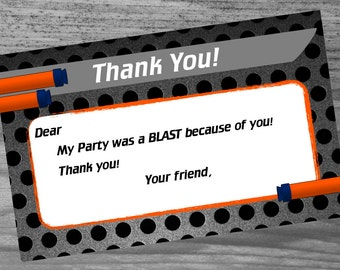 Dart War Birthday Party - Thank you card