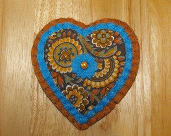 Hand made Heart Brooch/Floral Heart Brooch/Floral Heart Pin/Floral Heart Badge