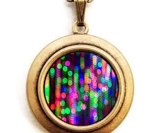 Neon Locket - Dripping Bokeh Colorful Neon Photo Locket Necklace