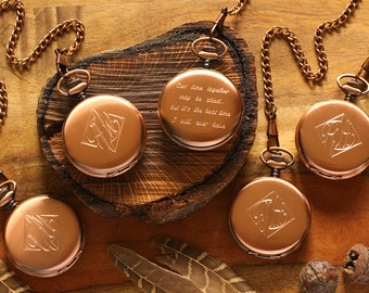 SET OF 10 - Engraved Copper Pocket Watch, Personalized Groomsmen Gifts - Engraved Wedding Date -Anniversary Gift For Men