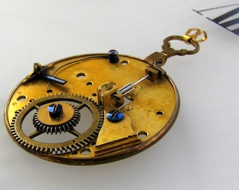 Steampunk Necklace Pendant Antique Fusee Pocket Watch Moving Parts Victorian Optical Monocle French Clock GEARS, Blued Screws Steampunkology