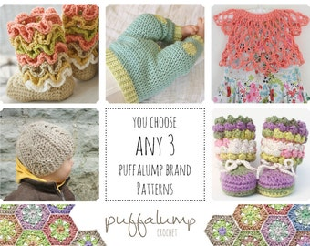 Crochet Pattern Discounts- Choose ANY 3 patterns for one low price