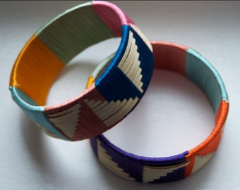 Woven straw stitched bangles