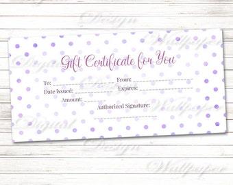 Printable Gift Certificate,Pink Watercolor Polka Dot Gift Certificate Gift Card,Last Minute Gift Idea,Pink Polka Dot Gift Card