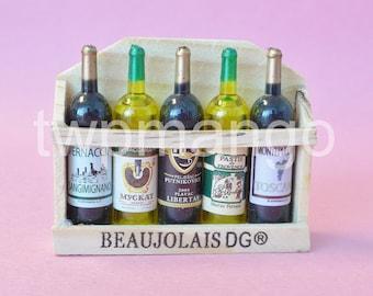5 Miniature Wine Bottles Dollhouse Miniature Wine Case N161