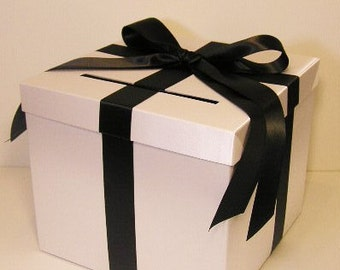 Wedding Card Box White and Black  Gift Card Box Money Box  Holder--Customize in your color(10x10x9) --custom made
