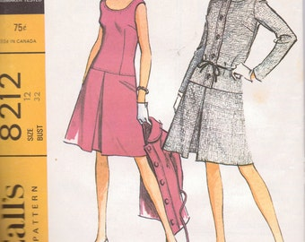Vintage 60's Dress and Jacket Sewing Pattern McCall's 8212 Size 12 Bust 32 inches Uncut Complete 60's Fashion
