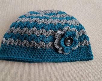 Crochet messy bun ponytail hat adult size