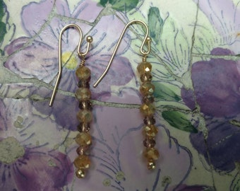 Amber and gold  filled dangle drop  crystal earrings