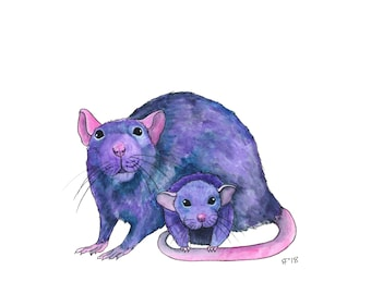 Mother Daughter Gift Whimsical Animal Art Cute Animal Art Watercolor Art Print Whimsical Art Print Funny Animal Art Gift For Rat Lover Gift