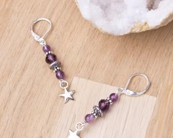 Améthyste boucles d'oreilles étoiles - gemme pourpre, perle et étoile d'argent boucles d'oreilles | Bijou | Bijoux pierre améthyste |  Étoiles gemme pourpre