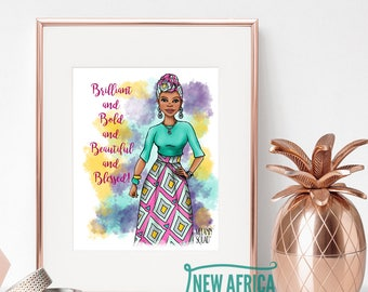 "Melanin Squad Art Print ""Imari"", Art print - Unframed, African American Art, 8 x 10, 11 x 14"