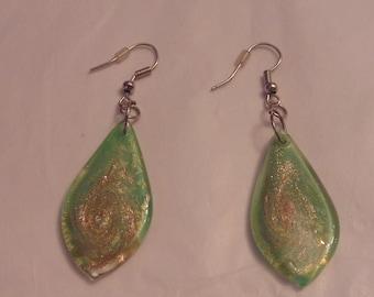 Dangling Green Lucite Silver Tone Earrings