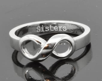Infinity Ring, Knot Ring, Sterling Silver, I LOVE YOU, Best Friend, Promise, Personalized, Sisters, Engraving Ring, Bridesmaid Gift, Bridal