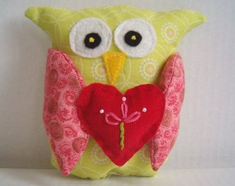 Owl Be Yours - Plush Valentine Owl -Green with Pink Wings