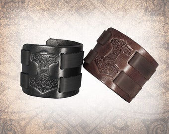 Mjölnir Leather Cuff, Leather Wristband, Leather Bracelet, Black Leather Cuff, Leather Band, Norse Cuff  - Custom to You (1 cuff only)
