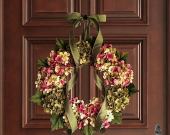 Summer Wreaths | Hand Blended Hydrangea Wreath | Front Door Wreaths | Summer Door Wreath | Hydrangea Wreath | Shabby Chic
