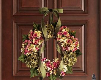 Couronnes d'été | La main mélangé hortensia Couronne | Couronnes de porte d'entrée | Couronne de porte d'été | Couronne d'hortensia | Shabby Chic