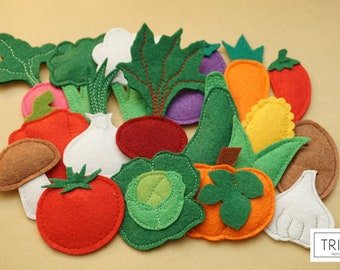Felt vegetables, felt play set, felt garden, felt veggies