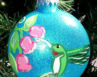 Hummingbird Hand Painted Ornament Ruby Throated Humming Bird Ornament Songbird Spring Bird Decoration Nature Wildlife Christmas Ornament