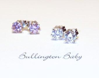 Baby Earrings, Girls Earrings, Baby Jewelry, Girls Jewelry, Kids Jewelry, Cubic Zirconia Earrings (B16)