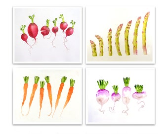 Kitchen Wall Art Decor Prints Vegetable wall art Sale 20% off Art Print Set of 4 watercolor prints painting Fruit still life LaBerge N