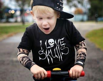 I Love Skulls Infant Toddler Kids Rocker Edgy Tee Shirt TShirt