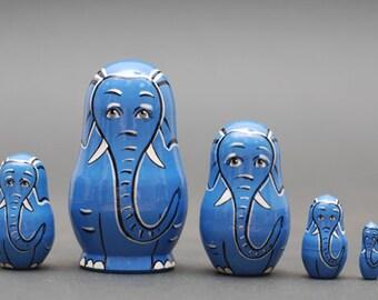 Elephant Nesting dolls matryoshka set  of  5 pc Free Shipping plus free gift!