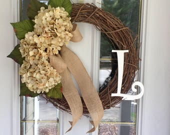 All Season Wreath, Summer Wreath, Monogram Wreath, Hydrangea wreath, Cream Hydrangeas,  Initial Wreath, Spring Wreath, Year Round Wreath.
