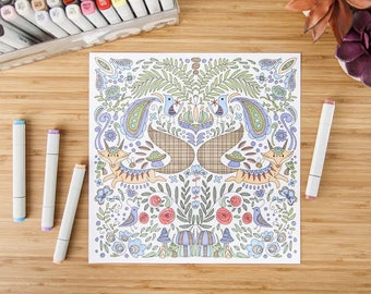 Fox Colouring Page - perfect for kids - high quality - perfect gift - * fast shipping