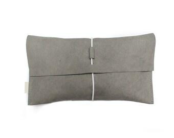 Gray leather nappy clutch - diaper clutch - luieretui