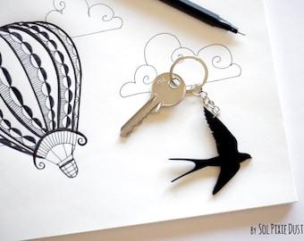 Key chain - Swallow Silhouette