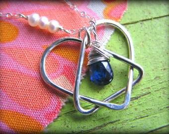 Celtic Adoption Birthstone Necklace Regular size Adoption Triad Symbol Pendant Sterling Silver - Gift Reunion Sister Mother Mom Daughter