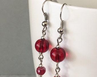 Red dangle earrings, red drop earrings, red earrings, valentine earrings, red beaded earrings, earrings red