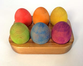 Wooden Eggs & Wooden Holder, Rainbow Colours, Montessori Educational Activity, Classroom Resource, Teaching Aid