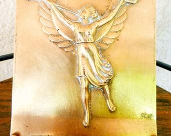 Antique Art nouveau Bronze Plaque  of Pheme /Fama