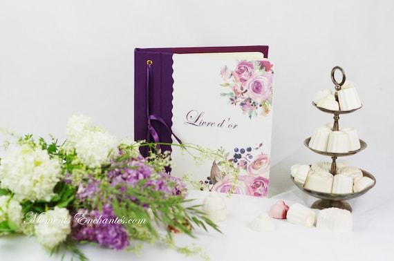 Livre d'or mariage Baptême Floral fleurs aquarelle Mariage bohème