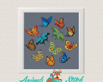 cross stitch Butterfly pattern pdf back stitch Instant Digital Download