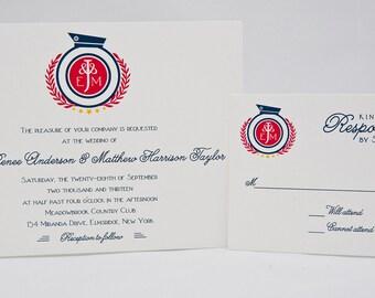 Preppy Nautical Wedding Invitation - Sample