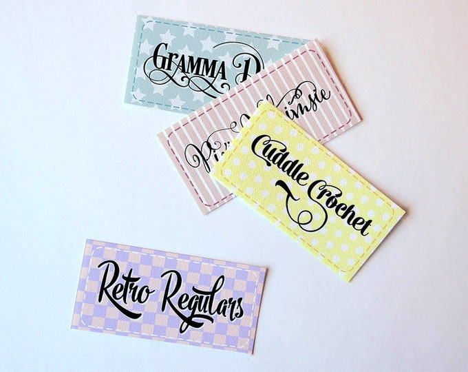 """Fancy Scripts & Scrolls Fabric Labels • 100% Cotton • Uncut • Craft Supply • Sewing, Knitting, Crochet, 2 x 1""""  60-80 Count"""