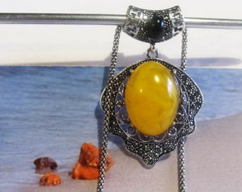 Yellow Amber Necklace Pendant 16.9 gr, stone polished opaque silver plated chain for adult