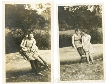 vintage photo 1922 Affectionate Women Hug Swim Proposal ~4 photo lot lesbian int