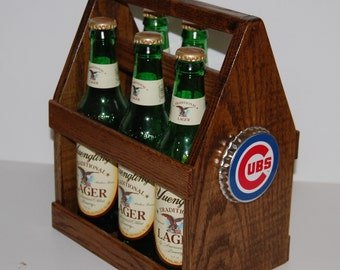 Chicago Cubs six pack tote in solid oak
