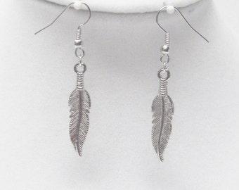 Slender Silver Plated Leaf Earrings